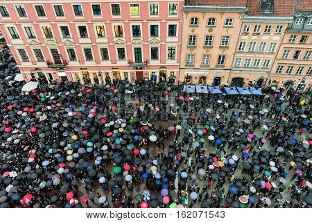 WARSAW POLAND - OCTOBER 4: Abortion protest in the old town area of Warsaw on October 4 2016 in Warsaw
