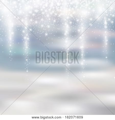 light silver and white christmas background with icicle snowfall glittery translucent for your winter design, vector illustration eps 10