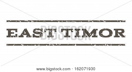 East Timor watermark stamp. Text tag between horizontal parallel lines with grunge design style. Rubber seal stamp with dust texture. Vector grey color ink imprint on a white background.