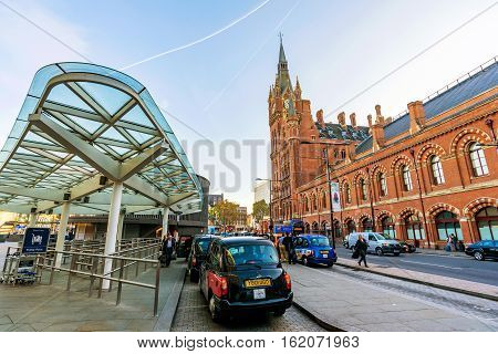LONDON UNITED KINGDOM - OCTOBER 31: This is the area outside Kings Cross Station where taxis come to pick up and drop off travelers from the train station on October 31 2016 in London