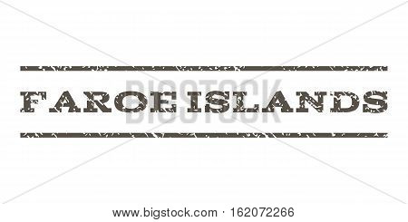 Faroe Islands watermark stamp. Text caption between horizontal parallel lines with grunge design style. Rubber seal stamp with dust texture. Vector grey color ink imprint on a white background.