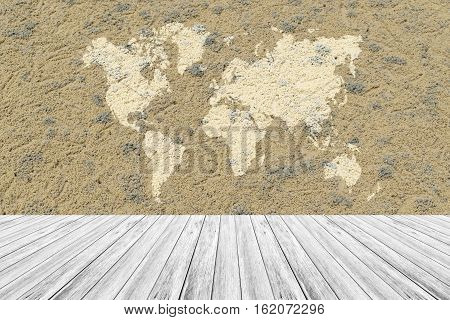 Sand Texture Surface With Wood Terrace And World Map