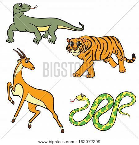 Zoo cartoon animals collection. Vector illustration on white background