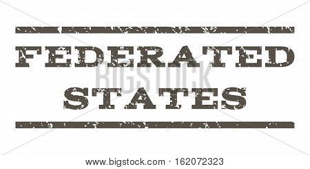 Federated States watermark stamp. Text tag between horizontal parallel lines with grunge design style. Rubber seal stamp with dirty texture. Vector grey color ink imprint on a white background.