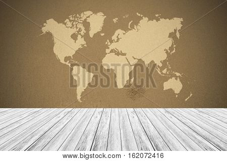 Sand Texture Surface Vintage Style With Wood Terrace And World Map