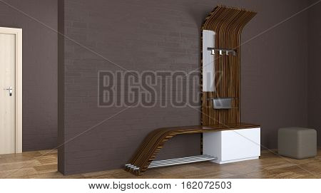 Furniture Concept. Hallway Furniture. 3D Rendering