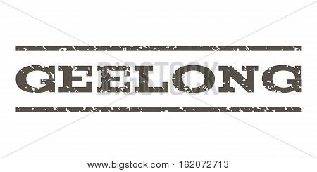 Geelong watermark stamp. Text tag between horizontal parallel lines with grunge design style. Rubber seal stamp with dirty texture. Vector grey color ink imprint on a white background.