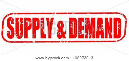 Supply & demand on the white background, red illustration