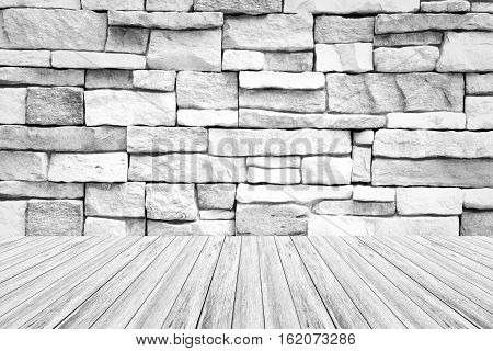 Wood Terrace And Stone Wall Texture