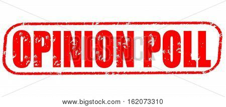 Opinion poll on the white background, red illustration
