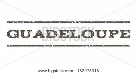 Guadeloupe watermark stamp. Text caption between horizontal parallel lines with grunge design style. Rubber seal stamp with dust texture. Vector grey color ink imprint on a white background.