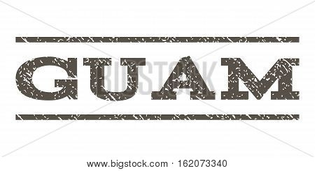 Guam watermark stamp. Text caption between horizontal parallel lines with grunge design style. Rubber seal stamp with scratched texture. Vector grey color ink imprint on a white background.