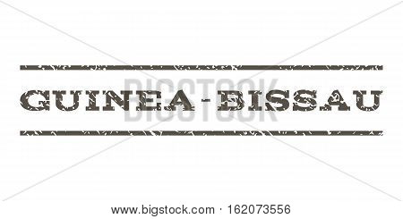 Guinea-Bissau watermark stamp. Text caption between horizontal parallel lines with grunge design style. Rubber seal stamp with unclean texture. Vector grey color ink imprint on a white background.