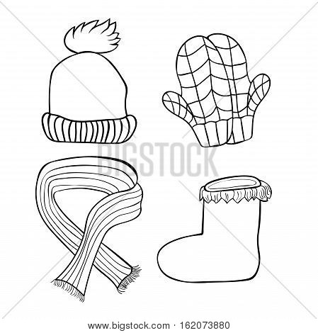 Set Of Coloring Hats, Mittens, Boots, Scarf Winter. Vector Illustration