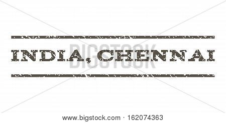 India, Chennai watermark stamp. Text caption between horizontal parallel lines with grunge design style. Rubber seal stamp with dust texture. Vector grey color ink imprint on a white background.