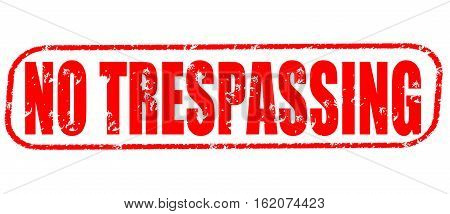 No trespassing on the white background, red illustration