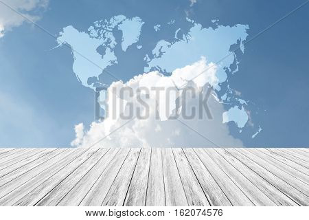 Blue Sky Cloud With Wood Terrace And World Map