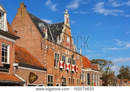 ENKHUIZEN, NORTH HOLLAND/ THE NETHERLANDS - SEPTEMBER 30, 2016:Building of the Weigh house in the old historical part of the town