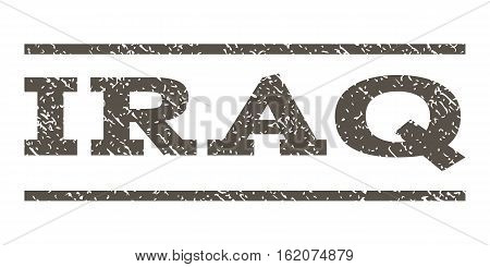 Iraq watermark stamp. Text caption between horizontal parallel lines with grunge design style. Rubber seal stamp with dust texture. Vector grey color ink imprint on a white background.