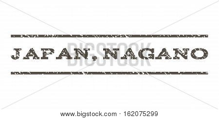 Japan, Nagano watermark stamp. Text caption between horizontal parallel lines with grunge design style. Rubber seal stamp with scratched texture. Vector grey color ink imprint on a white background.