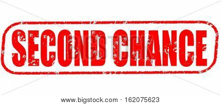 Second chance on the white background, red illustration