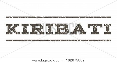Kiribati watermark stamp. Text tag between horizontal parallel lines with grunge design style. Rubber seal stamp with dust texture. Vector grey color ink imprint on a white background.