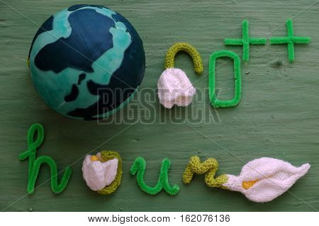 Earth Hour Message On Green Background