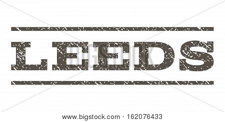 Leeds watermark stamp. Text tag between horizontal parallel lines with grunge design style. Rubber seal stamp with dust texture. Vector grey color ink imprint on a white background.