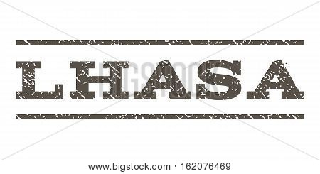 Lhasa watermark stamp. Text caption between horizontal parallel lines with grunge design style. Rubber seal stamp with dust texture. Vector grey color ink imprint on a white background.
