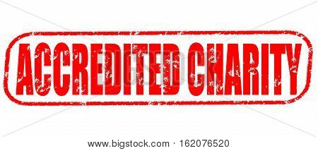 Accredited charity on the white background, red illustration