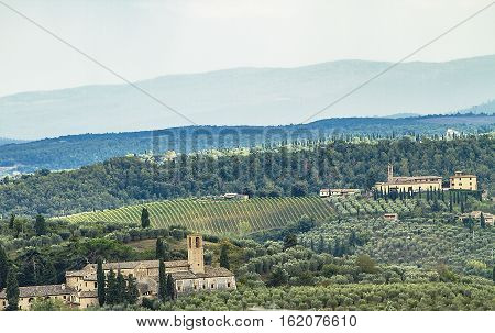 View at traditional landscape in Chianti Tuscany, Italy