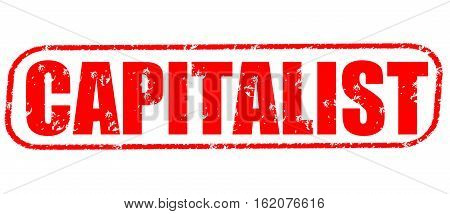 Capitalist on the white background, red illustration