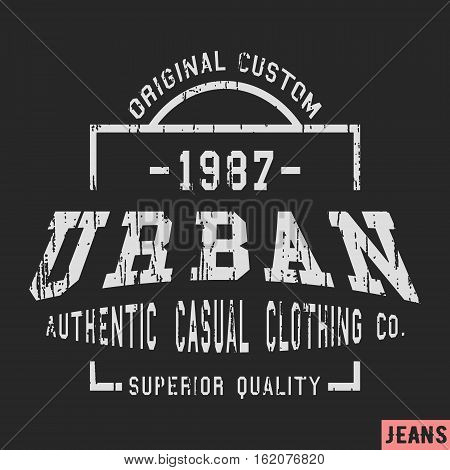 T-shirt print design. Vintage stamp. Printing and badge applique label t-shirts, jeans, casual wear. Vector illustration.