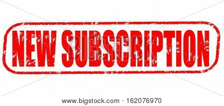 New subscription on the white background, red illustration