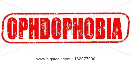 Ophdophobia on the white background, red illustration