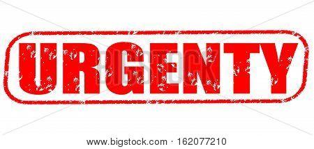 Urgenty on the white background, red illustration