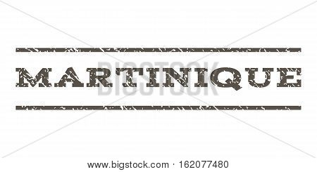 Martinique watermark stamp. Text caption between horizontal parallel lines with grunge design style. Rubber seal stamp with dirty texture. Vector grey color ink imprint on a white background.