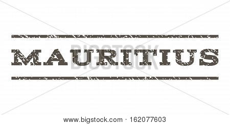 Mauritius watermark stamp. Text tag between horizontal parallel lines with grunge design style. Rubber seal stamp with scratched texture. Vector grey color ink imprint on a white background.