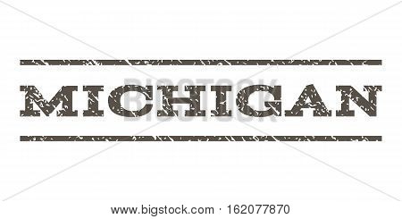 Michigan watermark stamp. Text caption between horizontal parallel lines with grunge design style. Rubber seal stamp with dust texture. Vector grey color ink imprint on a white background.