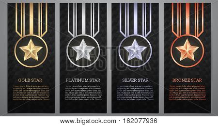 Set of black banner Gold platinumsilver and bronze star Vector illustration.