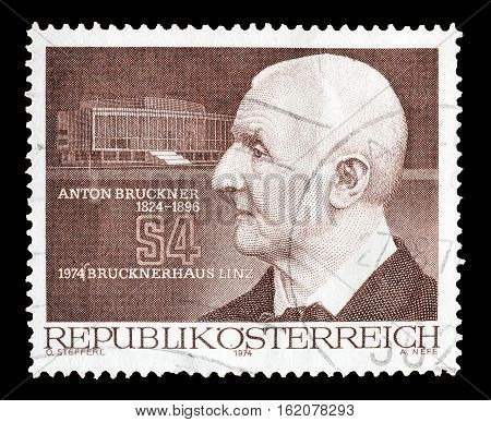 AUSTRIA - CIRCA 1974 : Cancelled postage stamp printed by Austria, that shows Anton Bruckner.