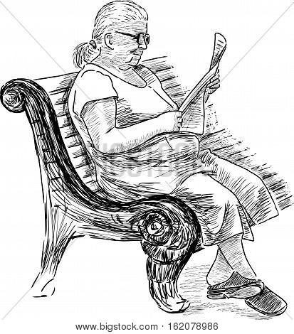 Vector image of an elderly woman reading a newspaper on a park bench.