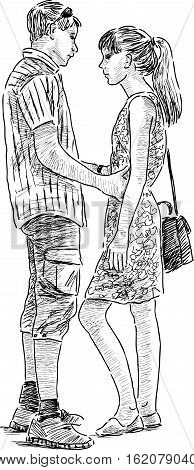 Vector sketch of an young couple at a date.