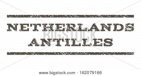 Netherlands Antilles watermark stamp. Text tag between horizontal parallel lines with grunge design style. Rubber seal stamp with unclean texture. Vector grey color ink imprint on a white background.