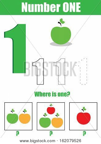Handwriting practice. Learning mathematics and numbers. Number one. Educational children game, printable worksheet for kids