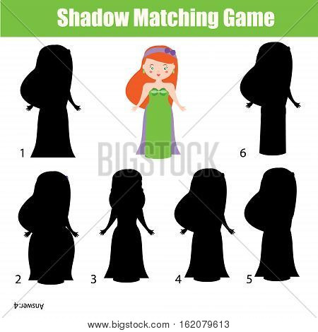 Shadow matching game for children. Find the right, correct shadow activity for kids preschool and school age. Princess character