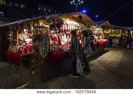 Traditional Christmas Fair On Piazza Cavour In Como, Italy