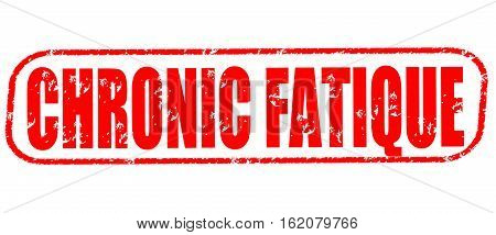 Chronic fatique on the white background, red illustration