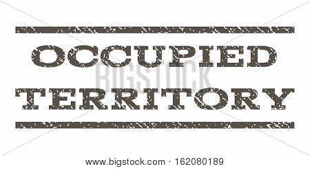 Occupied Territory watermark stamp. Text tag between horizontal parallel lines with grunge design style. Rubber seal stamp with unclean texture. Vector grey color ink imprint on a white background.