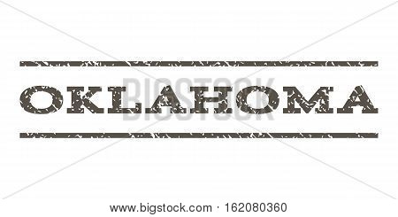 Oklahoma watermark stamp. Text caption between horizontal parallel lines with grunge design style. Rubber seal stamp with scratched texture. Vector grey color ink imprint on a white background.